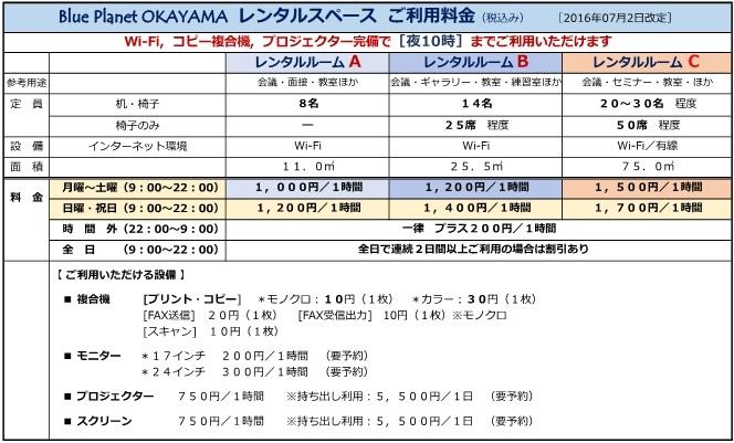 【20160702修正】レンタルスペース利用料金